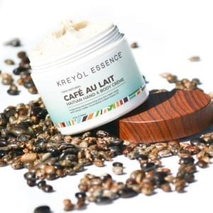 pot of kreyol essence body cream with coffee seeds